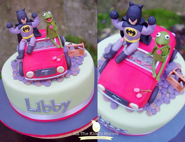 Pink Batman and Kermit the Frog Cake