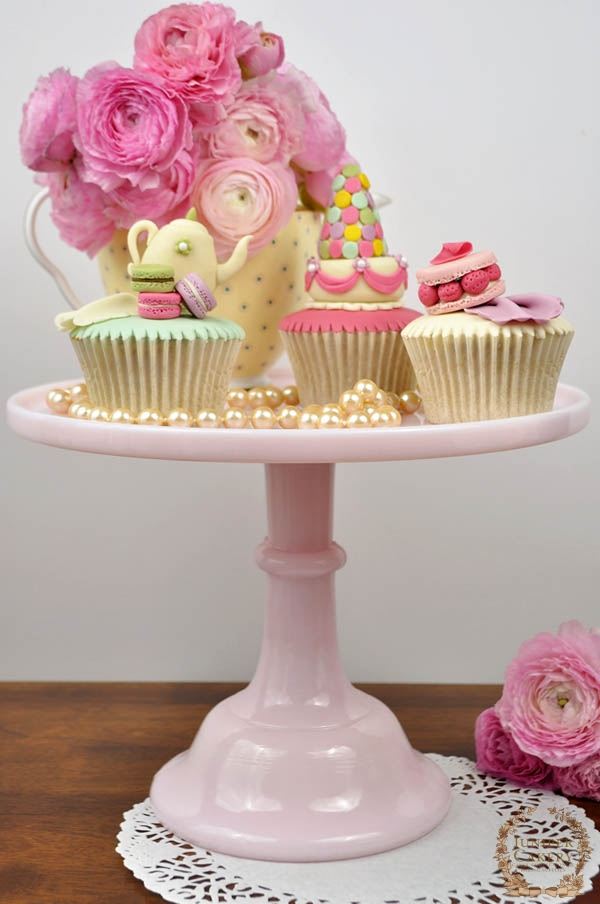 Tea Themed Cupcakes on a Cake Stand