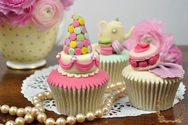 Three Parisian Macaron Cupcakes