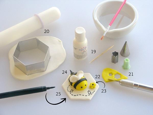 Finished Fondant Bumble Bee and Fondant Modeling Tools