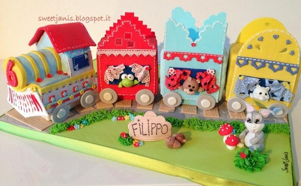 Sculpted, Colorful Train Car Cake for Kids