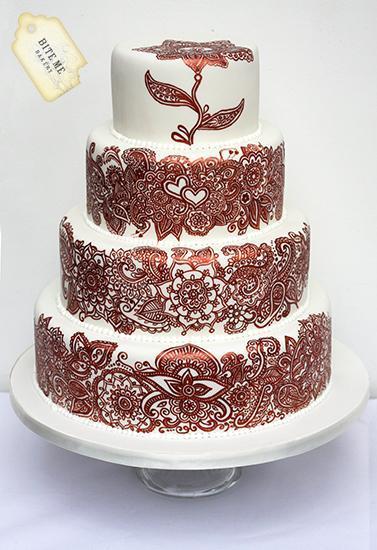 Hand-Painted Henna Inspired Wedding Cake