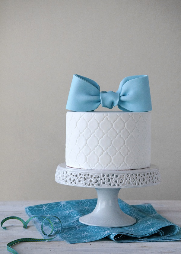 Blue Fondant Bow Cake Topper