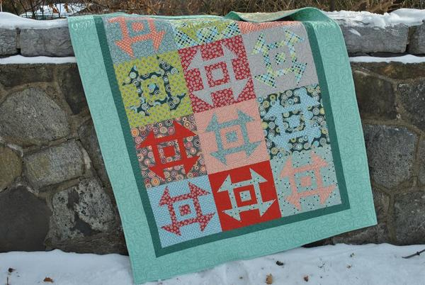 Modern Churn Dash Quilt - Pattern available on Craftsy