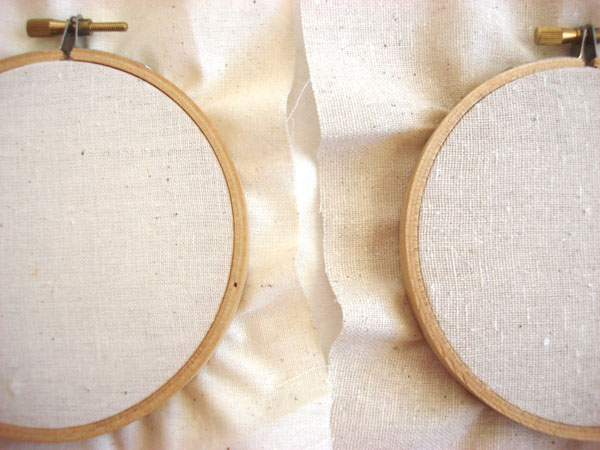 Fabrics for hand embroidery: In hoops