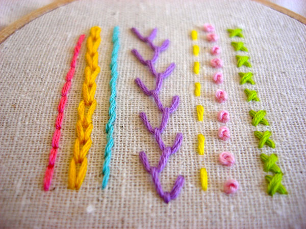 osnaburg for hand embroidery: various stitch examples