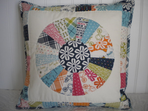 Modern Dresden Plate Pillow with Various Fabric Patterns