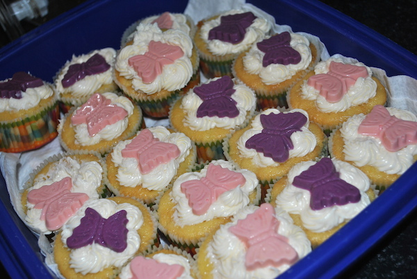 Cupcakes with Butterfly Decorations