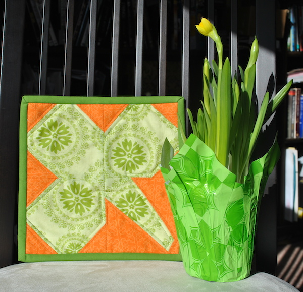 Mini Quilt and a Potted Daffodil