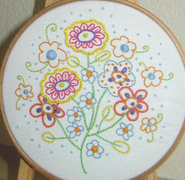 Hand Embroidered Flower Pattern - Bluprint.com