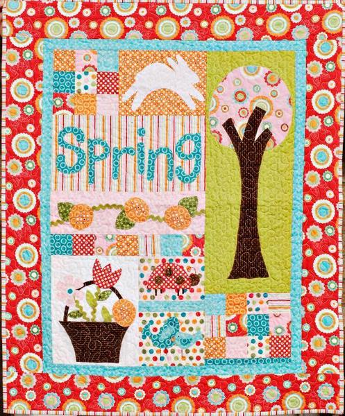 Colorful Quilted Wall Hanging for Spring - pattern on Bluprint