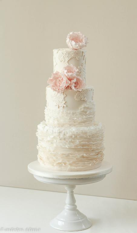 Fondant Frill Wedding Cake with Blush Colored Sugar Roses