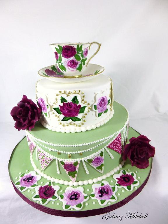 Hand-Painted Tea Party Themed Cake