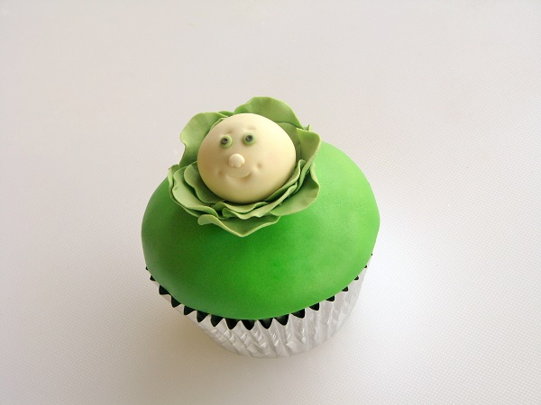 Cupcake Topped with Cute Fondant Cabbage Topper