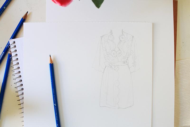Lace robe sketch by Antonella