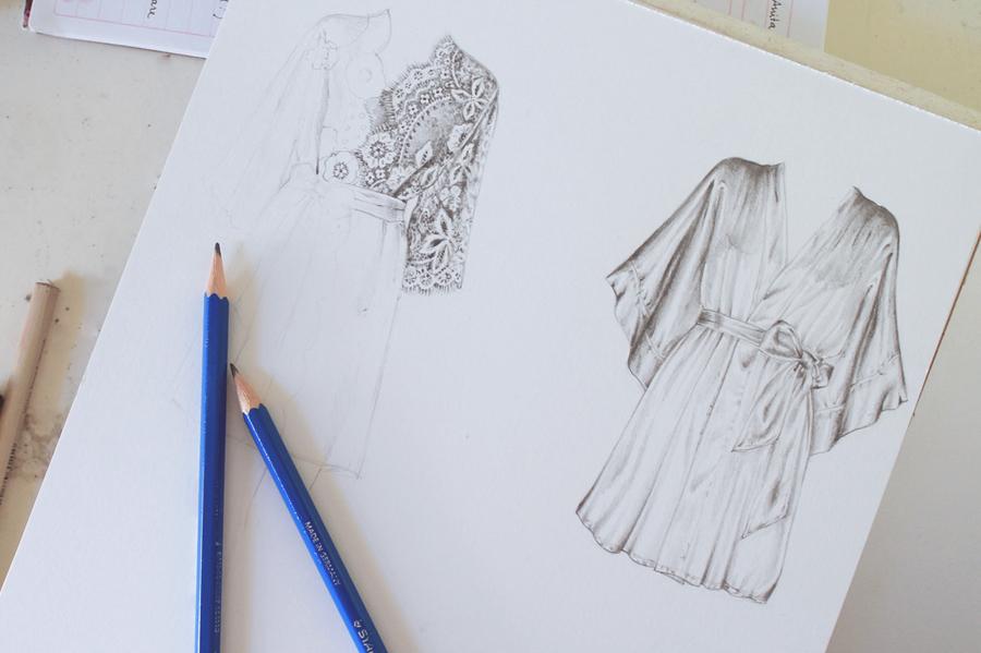 Pretty robe illustrations in progress using graphite pencil
