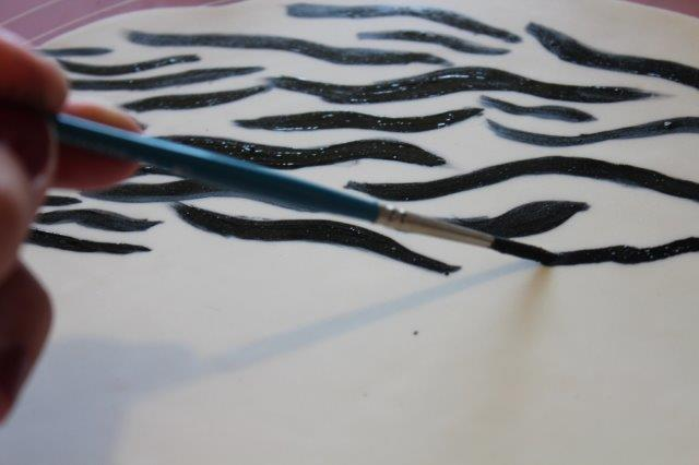 Painting Zebra Stripes on a Cake