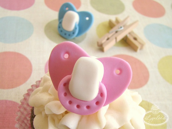 Baby Shower Cupcakes Topped with Fondant Pacifiers