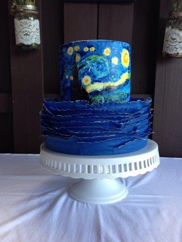 Starry Night Fondant Frill Cake