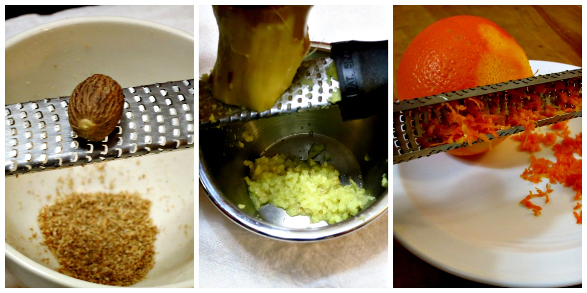 Grate nutmeg, ginger, and citrus zest with a Microplane grater