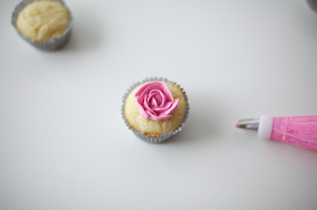 Bird's Eye View of a Piped Buttercream Cupcake