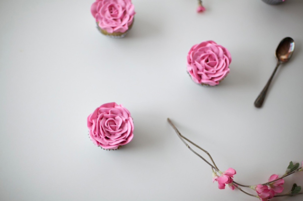 Three Cupcakes with Piped Buttercream Roses