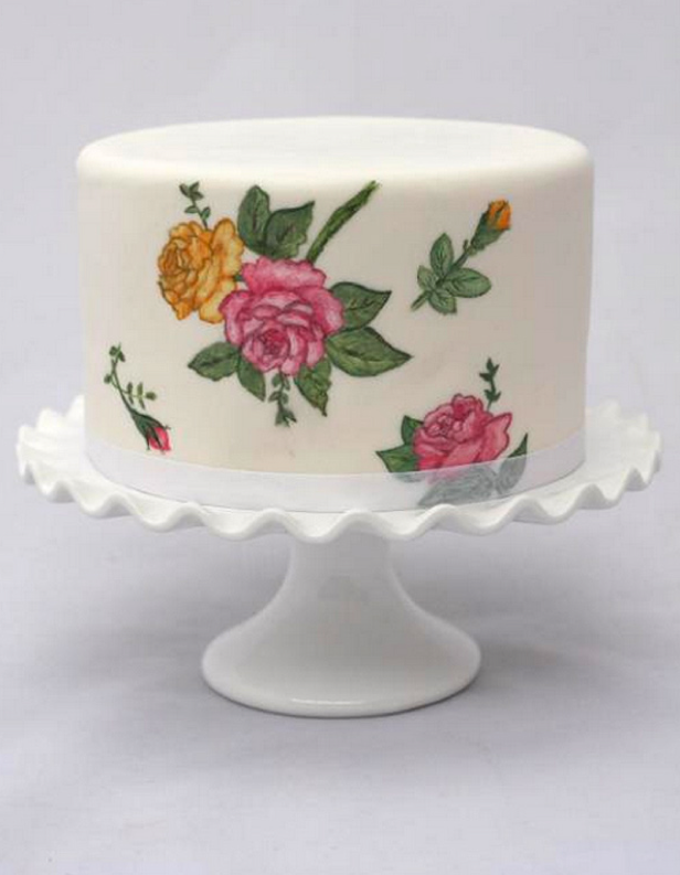 Hand-Painted Roses Cake - Bluprint Member Project