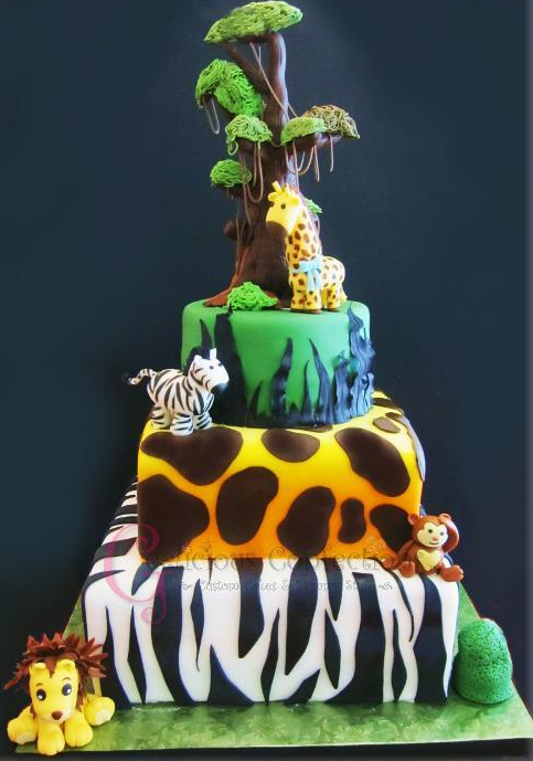 Tiered Jungle-Themed Cake: Bluprint Member Project