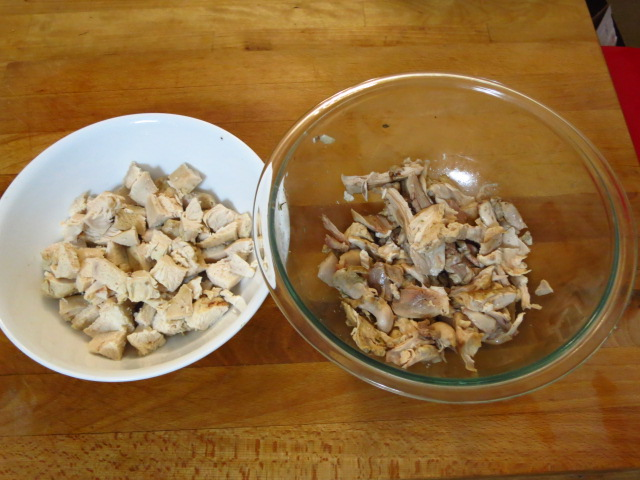 Shredded white and dark meat for homemade chicken soup