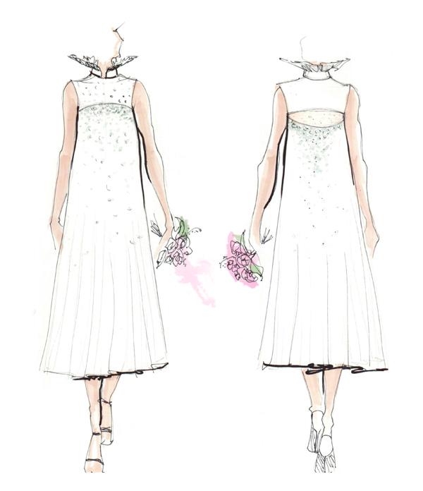 White dress: fashion design illustrations