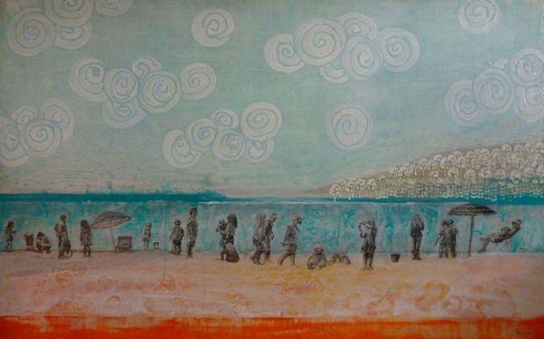 White Rock, beach painting by Sandrine Pelissier