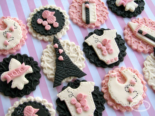 Paris Themed Cupcake Toppers for a Baby Shower