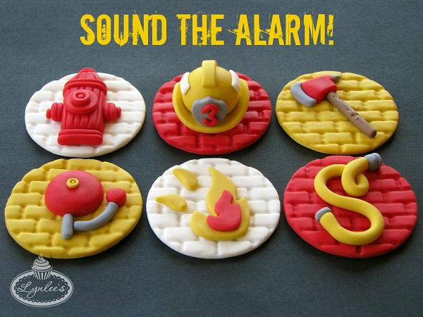 Firehouse Themed Fondant Cupcake Toppers