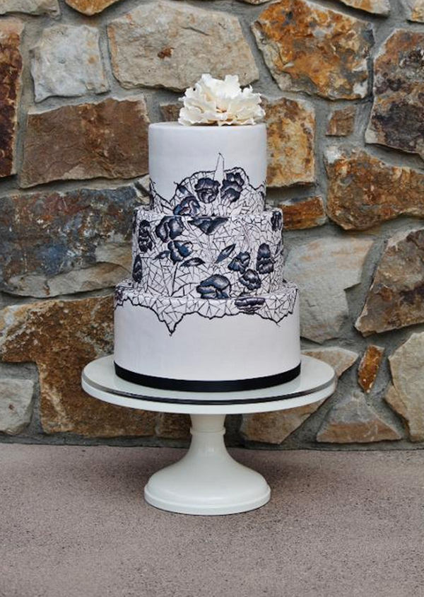 Black Lace White Hand-Painted Cake