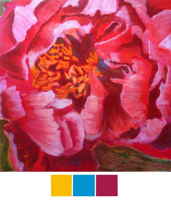 Blooming Peony Using a Triadic Color Scheme