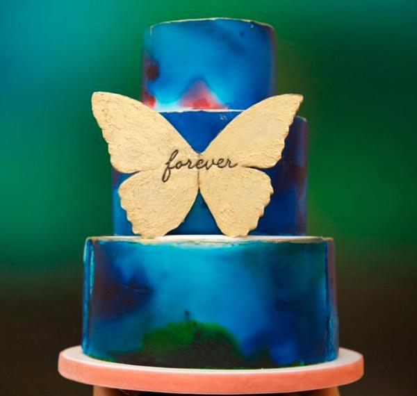 Blue Tie-Dye Painted Cake