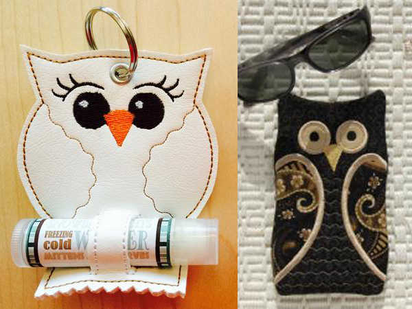 Owl chap stick holder and glasses case by EmbGarden