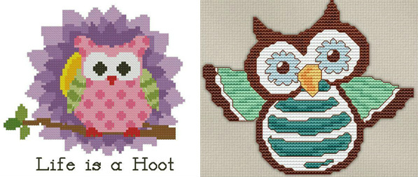 Bluprint cross-stitch owls