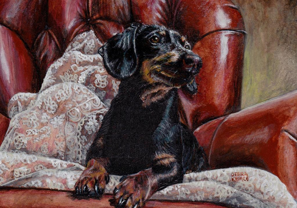 Painting of Dog in Chair
