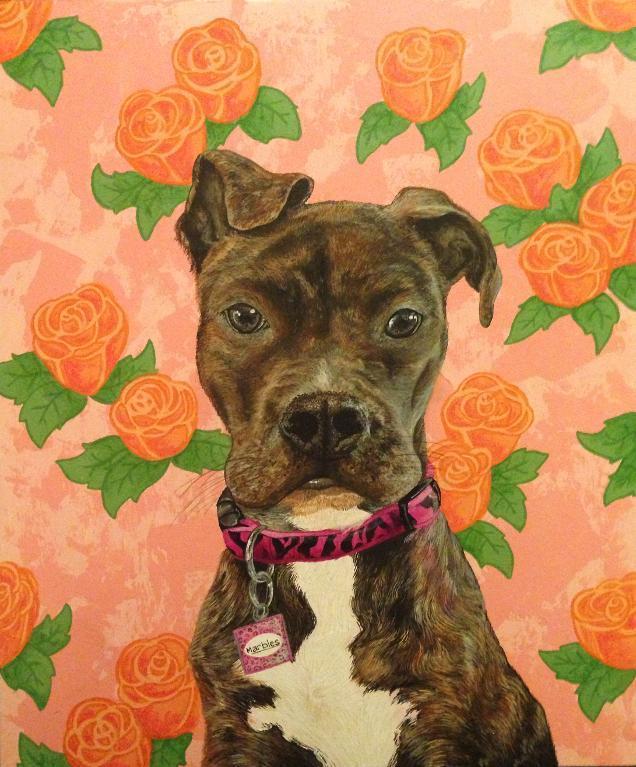 Dog Against Floral Background