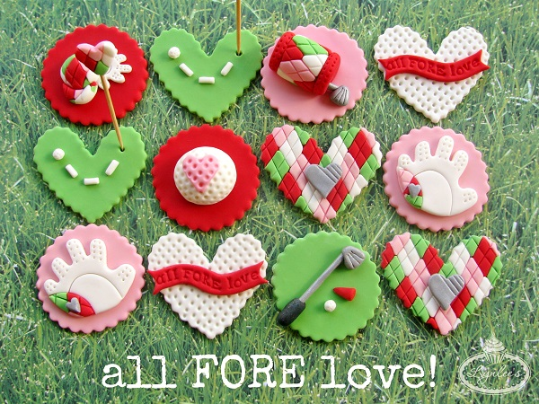 Multicolored Golf and Love Themed Cupcake Toppers