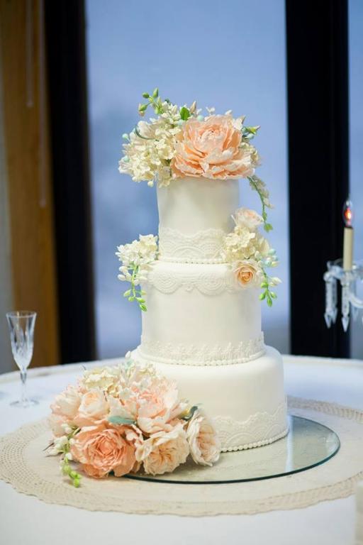 Sugar Flower and Lace Wedding Cake, on Bluprint