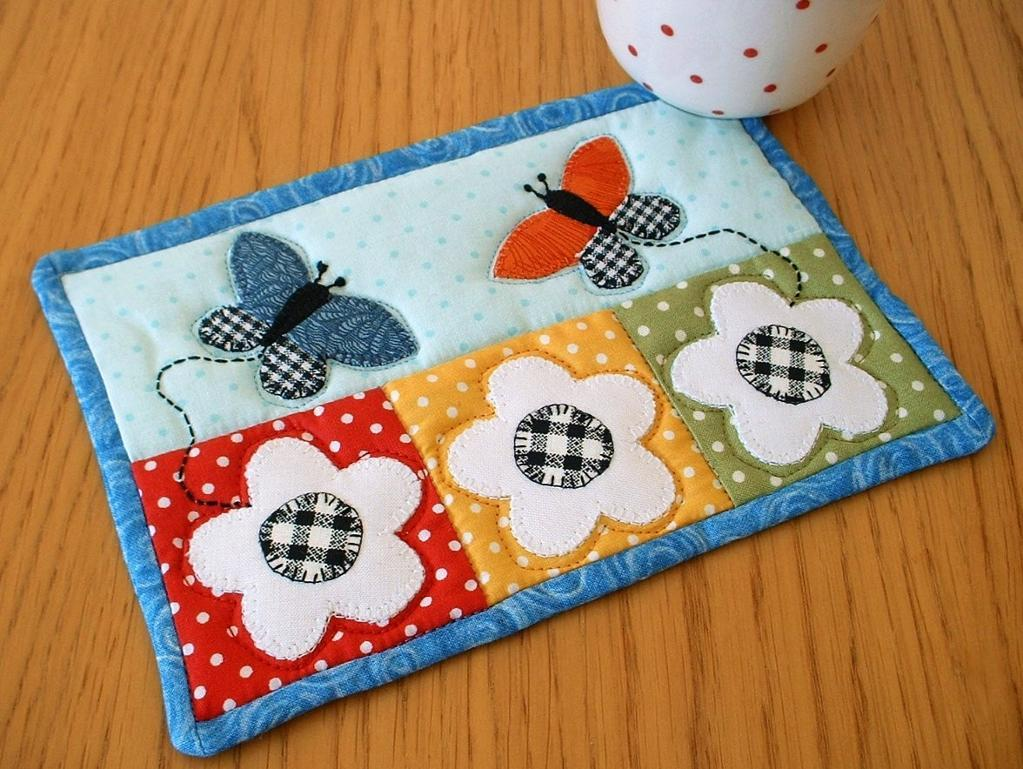 Quilted Butterfly and Flower Mug Rug
