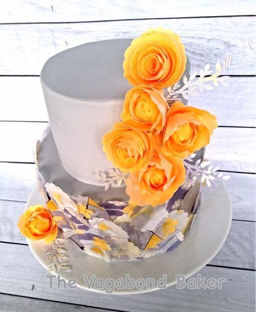 Wafer Paper Rose and Collage Cake