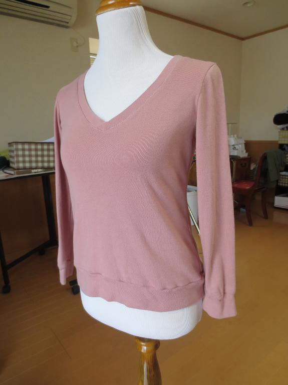 Blush V-Neckline Long Sleeve Tee Shirt