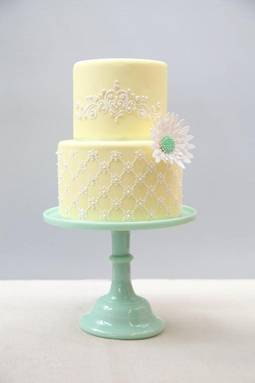 Yellow Cake Stenciled with Royal Icing