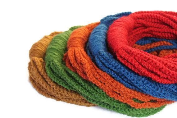 Crochet infinity loop scarves