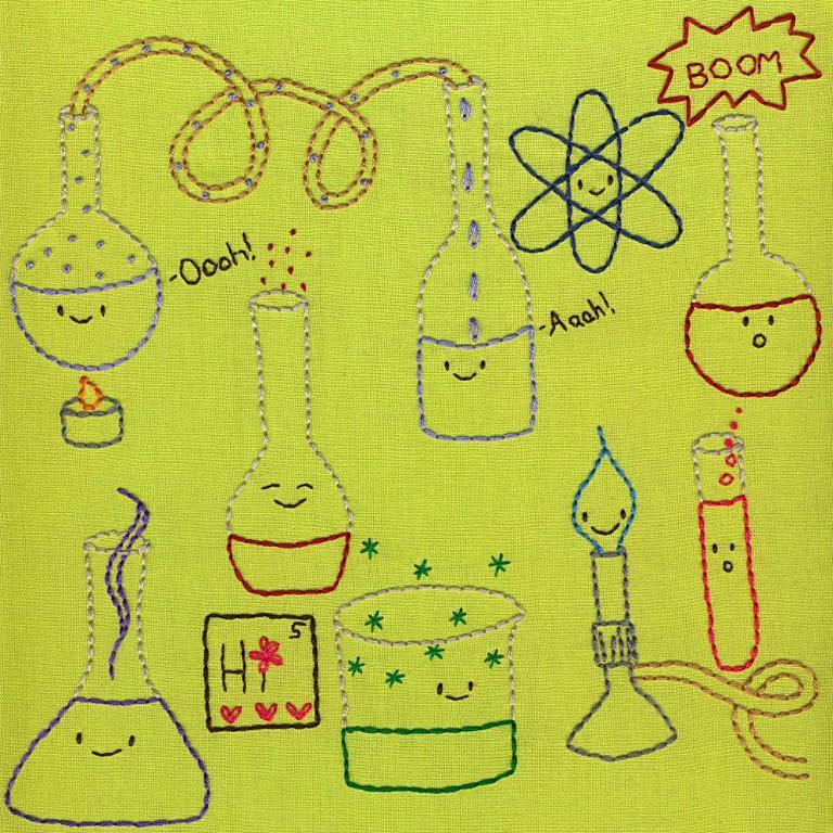 Hand embroidery motifs of lab instruments with happy faces