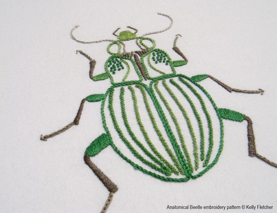 Embroidered outline of a green beetle