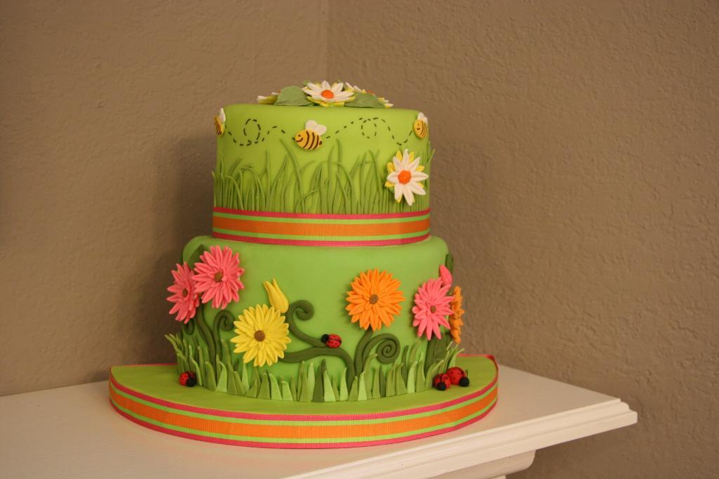 Springtime Cake Decorated with Fondant Daisies, Bees and Ladybugs